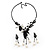 Black Mesh Floral Faux Pearl Necklace & Drop Earrings Set - view 5