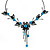 Delicate Y-Shape Blue Rose Necklace & Drop Earring Set In Black Metal - view 4