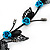 Delicate Y-Shape Blue Rose Necklace & Drop Earring Set In Black Metal - view 5