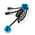 Delicate Y-Shape Blue Rose Necklace & Drop Earring Set In Black Metal - view 8