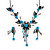 Delicate Y-Shape Blue Rose Necklace & Drop Earring Set In Black Metal - view 2