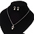 Delicate Faux Pearl Diamante 'Heart' Pendant Necklace & Stud Earrings Set In Silver Plating - view 2