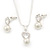 Delicate Faux Pearl Diamante 'Heart' Pendant Necklace & Stud Earrings Set In Silver Plating - view 9