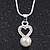 Delicate Faux Pearl Diamante 'Heart' Pendant Necklace & Stud Earrings Set In Silver Plating - view 3