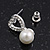 Delicate Faux Pearl Diamante 'Heart' Pendant Necklace & Stud Earrings Set In Silver Plating - view 7