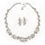 Bridal 'Flower' Simulated Pearl/Crystal Necklace & Drop Earring Set In Silver Metal - 46cm Length/6cm Extension) - view 12