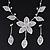 Delicate Bridal Diamante Flower Mesh 'Y'-Necklace & Drop Earrings Set In Silver Plating - 40cm Length/ 4cm Extension
