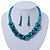Teal Faux Pearl/ Glass Crystal Cluster Necklace & Drop Earrings Set In Silver Plating - 38cm Length/ 6cm Extender - view 1
