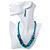 Teal Faux Pearl/ Glass Crystal Cluster Necklace & Drop Earrings Set In Silver Plating - 38cm Length/ 6cm Extender - view 4