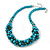 Teal Faux Pearl/ Glass Crystal Cluster Necklace & Drop Earrings Set In Silver Plating - 38cm Length/ 6cm Extender - view 5