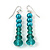 Teal Faux Pearl/ Glass Crystal Cluster Necklace & Drop Earrings Set In Silver Plating - 38cm Length/ 6cm Extender - view 6