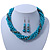 Azure, Metallic Teal Simulated Glass Pearl Bead Multi Strand Neckace, Bracelet & Drop Earrings Set In Silver Tone - 34cm Length/ 4cm Extender - view 7