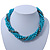 Azure, Metallic Teal Simulated Glass Pearl Bead Multi Strand Neckace, Bracelet & Drop Earrings Set In Silver Tone - 34cm Length/ 4cm Extender - view 6