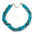 Azure, Metallic Teal Simulated Glass Pearl Bead Multi Strand Neckace, Bracelet & Drop Earrings Set In Silver Tone - 34cm Length/ 4cm Extender - view 8