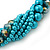 Azure, Metallic Teal Simulated Glass Pearl Bead Multi Strand Neckace, Bracelet & Drop Earrings Set In Silver Tone - 34cm Length/ 4cm Extender - view 5