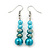Azure, Metallic Teal Simulated Glass Pearl Bead Multi Strand Neckace, Bracelet & Drop Earrings Set In Silver Tone - 34cm Length/ 4cm Extender - view 3