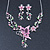 Pink/ Green Austrian Crystal 'Butterfly' Necklace & Drop Earring Set In Rhodium Plating - 40cm Length/ 6cm Extension - view 5
