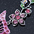 Pink/ Green Austrian Crystal 'Butterfly' Necklace & Drop Earring Set In Rhodium Plating - 40cm Length/ 6cm Extension - view 11