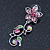 Pink/ Green Austrian Crystal 'Butterfly' Necklace & Drop Earring Set In Rhodium Plating - 40cm Length/ 6cm Extension - view 13