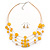 Lemon Yellow Shell & Crystal Floating Bead Necklace & Drop Earring Set - 52cm Length/ 5cm extension