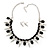 Crystal, Black Jewelled Stone, Velour Ribbon, Spike Necklace & Stud Earrings Set In Silver Tone - 44cm Length/ 6cm Exntension - view 2
