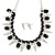 Crystal, Black Jewelled Stone, Velour Ribbon, Spike Necklace & Stud Earrings Set In Silver Tone - 44cm Length/ 6cm Exntension - view 3