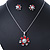 Enamel Red Simulated Pearl, Crystal Flower Pendant With Silver Tone Snake Style Chain & Stud Earrings Set - 40cm Length/ 6cm Extender - view 8