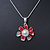 Enamel Red Simulated Pearl, Crystal Flower Pendant With Silver Tone Snake Style Chain & Stud Earrings Set - 40cm Length/ 6cm Extender - view 3