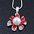 Enamel Red Simulated Pearl, Crystal Flower Pendant With Silver Tone Snake Style Chain & Stud Earrings Set - 40cm Length/ 6cm Extender - view 4