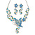 Azure/ Blue/ Green Austrian Crystal 'Butterfly' Necklace & Drop Earring Set In Rhodium Plating - 40cm Length/ 6cm Extension