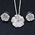 Clear Austrian Crystal Flower Pendant With Silver Tone Chain and Stud Earrings Set - 46cm L/ 5cm Ext - Gift Boxed - view 2
