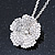 Clear Austrian Crystal Flower Pendant With Silver Tone Chain and Stud Earrings Set - 46cm L/ 5cm Ext - Gift Boxed - view 8