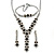 Bridal/ Prom/ Wedding Black/ Grey/ Clear Crystal V-shape Necklace, Bracelet and Drop Earrings Set In Black Tone - Necklace 34cm L/ 12cm Ext, Bracelet