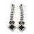 Bridal/ Prom/ Wedding Black/ Grey/ Clear Crystal V-shape Necklace, Bracelet and Drop Earrings Set In Black Tone - Necklace 34cm L/ 12cm Ext, Bracelet - view 8