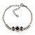 Bridal/ Prom/ Wedding Black/ Grey/ Clear Crystal V-shape Necklace, Bracelet and Drop Earrings Set In Black Tone - Necklace 34cm L/ 12cm Ext, Bracelet - view 7