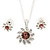 Clear/ Purple Austrian Crystal Flower Pendant With Silver Tone Chain and Stud Earrings Set - 40cm L/ 5cm Ext - Gift Boxed - view 10