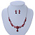 Bridal/ Prom/ Wedding Ruby Red Austrian Crystal Floral Necklace And Earrings Set In Silver Tone - 46cm L/ 5cm Ext - view 4