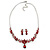 Bridal/ Prom/ Wedding Ruby Red Austrian Crystal Floral Necklace And Earrings Set In Silver Tone - 46cm L/ 5cm Ext - view 7