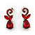 Bridal/ Prom/ Wedding Ruby Red Austrian Crystal Floral Necklace And Earrings Set In Silver Tone - 46cm L/ 5cm Ext - view 8