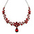 Bridal/ Prom/ Wedding Ruby Red Austrian Crystal Floral Necklace And Earrings Set In Silver Tone - 46cm L/ 5cm Ext - view 10