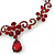 Bridal/ Prom/ Wedding Ruby Red Austrian Crystal Floral Necklace And Earrings Set In Silver Tone - 46cm L/ 5cm Ext - view 5