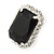 Black/ Clear Crystal Square Pendant with Silver Tone Chain and Stud Earrings Set - 44cm L/ 5cm Ext - view 6