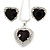 Black/ Clear Crystal Heart Pendant with Silver Tone Chain and Stud Earrings Set - 44cm L/ 6cm Ext