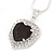Black/ Clear Crystal Heart Pendant with Silver Tone Chain and Stud Earrings Set - 44cm L/ 6cm Ext - view 7