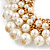 Gold Plated Cream Faux Pearl Bib Necklace and Drop Earrings Set - 40cm L/ 8cm Ext - view 7