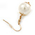 Gold Plated Cream Faux Pearl Bib Necklace and Drop Earrings Set - 40cm L/ 8cm Ext - view 5