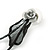 Exquisite Y-Shape Metallic Silver Rose Necklace & Drop Earring Set In Black Metal - 38cm L/ 7cm Ext - view 6