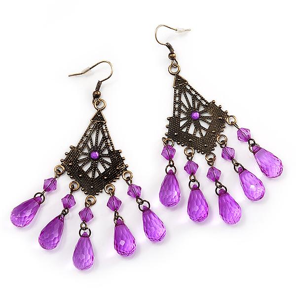 Bronze Tone Purple Acrylic Bead Chandelier Earrings - 9cm Length ...