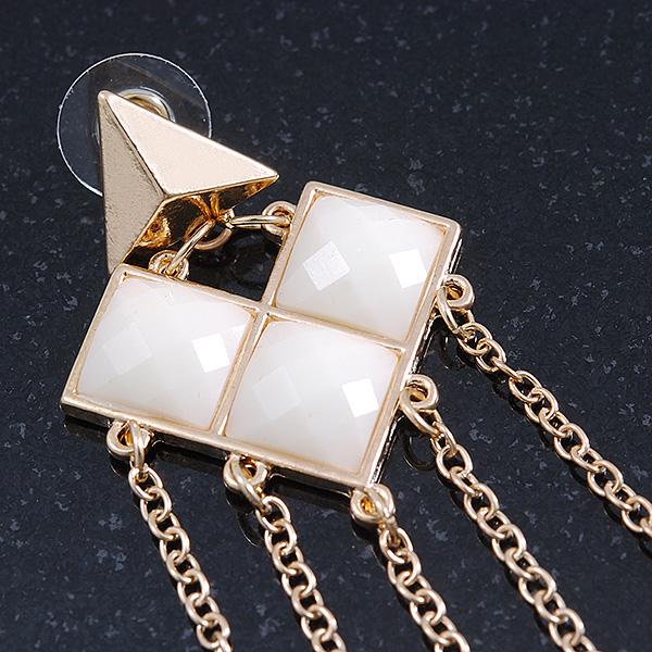 Long Chain Milky White Bead Dangle Earrings In Antique Silver Metal 11.5cm Len